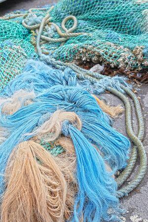 fish net: fish net normandy france Stock Photo