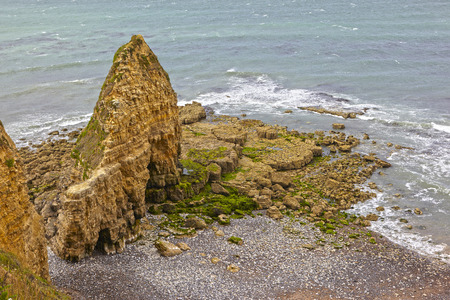hoc: Pointe du Hoc Rocks Coastal Line Normandy Stock Photo
