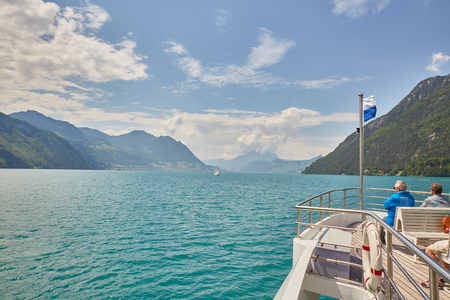 Boat cruise on lake lucerne, sunnysummer Stock Photo