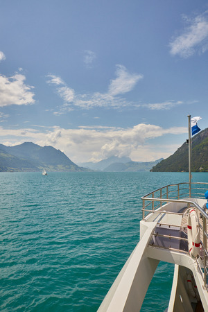 Boat cruise on lake lucerne, sunny weather summer
