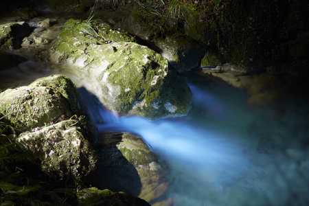 Light Painting Waterfall at night. devils canyon