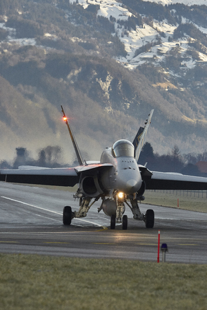 Swiss Air Force F  A-18 Hornet Air Patrol during WEF 2018, Meiringen Airbase Editorial