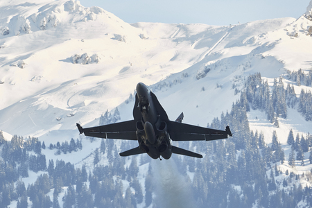 Take Off F  A-18 C Hornet during WEF 2018 at Meiringen Airbase Editorial
