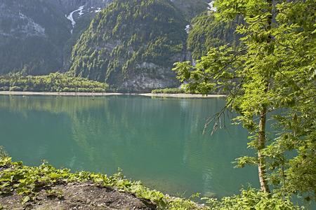 Kloentalersee Lake in Switzerland 스톡 콘텐츠