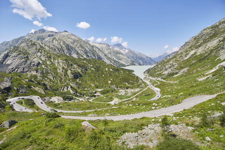 Grimsel pass switzerland, sunny summer day in the mountains 免版税图像
