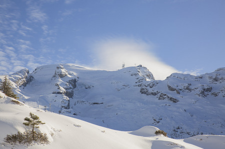 Winter Wonderland, Truebsee Lake, Engelberg, Alps, Switzerland Stock Photo