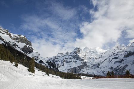 Alpine Lake Oeschinenensee, Switzerland, winter landscape, ice Imagens