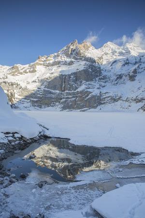 Oeschinensee Bernese Alps near Kandersteg in winter Stok Fotoğraf