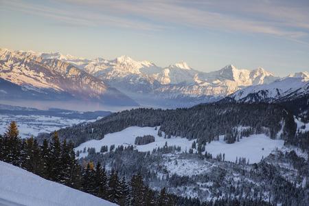 winter sunset swiss alps, gurnigel, bernese oberland Stock Photo