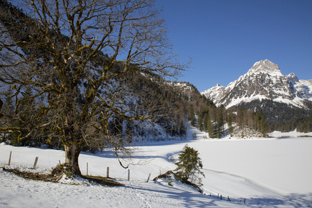 Lake Obersee Glarus Switzerland in winter