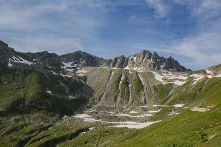 Sunset Nufenenpass, Swiss Alps, Summer, mountain landscape