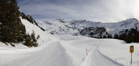 Hasliberg mountains in winter snow winter walk Stock Photo - 143016756
