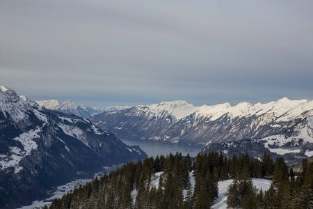 Haslital view in winter with snow Stock Photo