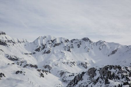 Hasliberg Mountains in winter with snow Stock Photo - 141296498
