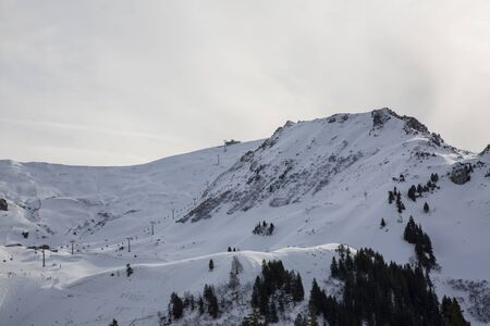 Hasliberg Mountains in winter with snow