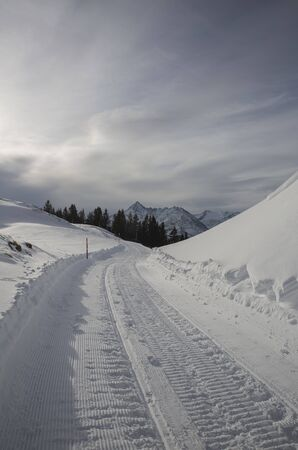 Hasliberg Mountains in winter with snow Stock Photo - 141290963