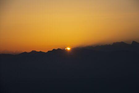 Sunrise over Bernese mountains in Switzerland Stock Photo - 144018103