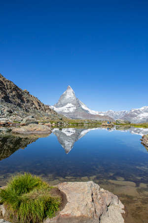 Matterhorn and Riffelsee in Zermatt Switzerland