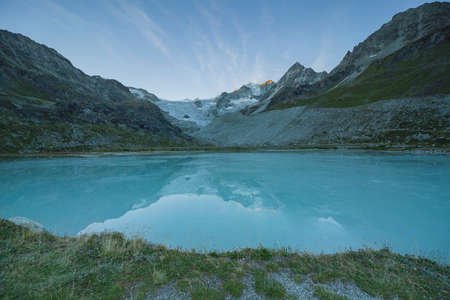 Sunrise at Glacier Lake Lac Chateaupre with Mory Glacier in Valais Switzerland