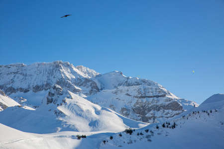 Winter landscapes at Adelboden Switzerland with snow in winter