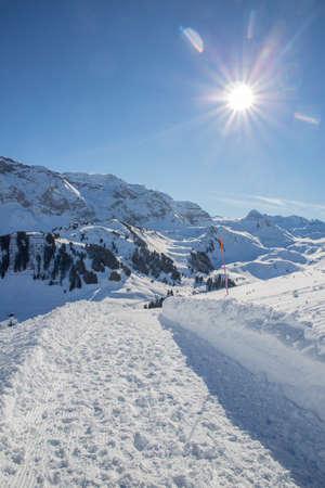 Winter landscape at Adelboden Bernese Oberland in Switzerland