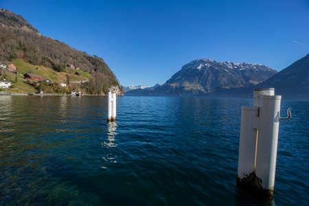 Sunrise around the lake uri - lucerne with alps and alpine glow, lake promenade, Central Switzerland