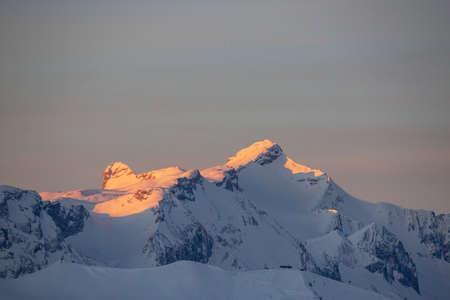 Summise in Adelboden region Elsigen in Bernese Oberland in winter.
