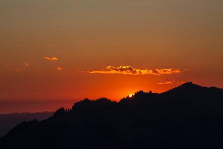Sunrise over Friborg alps in Switzerland.
