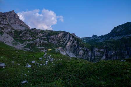 Sunrise over Ruosalp in Switzerland with alpine glow.