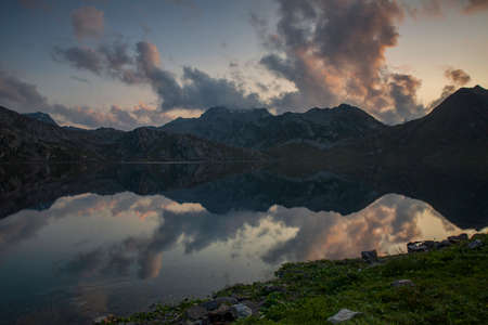 Sunset landscapes and lakes at Lago del Naret region in Ticino Switzerland Zdjęcie Seryjne