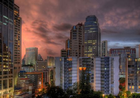 hdr picture of sukhumvit aerea in bangkok at sunset photo