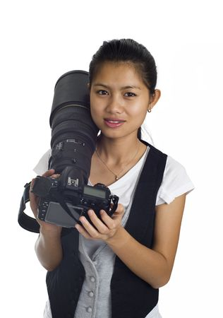 asian woman with cam and tele photo