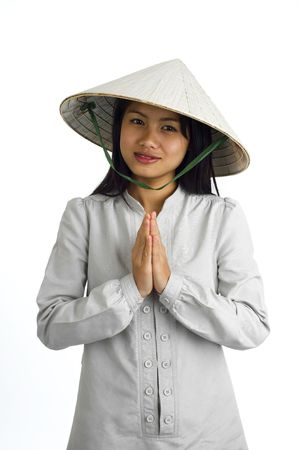 young asian woman with typical welcome expression photo