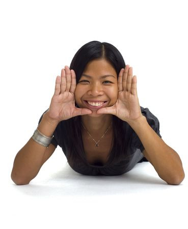 asian girl building a frame with her hands around her face Stock Photo - 3829139