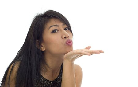 attractive asian girl sending a kiss photo