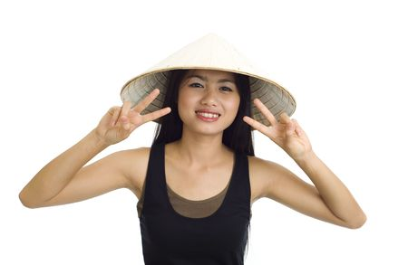 young, beautiful asian woman with hat making victory signs photo