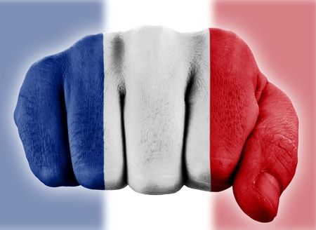 fist with french flag  photo