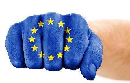 la union hace la fuerza: pu�o con la Uni�n Europea pabell�n aislado en blanco