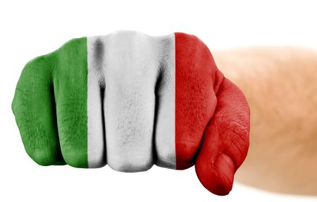fist with italian flag isolated on white photo