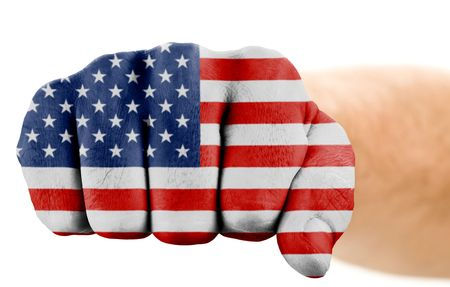 fist with us flag isolated on white