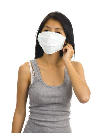 dust mask: asian woman wearing a face mask
