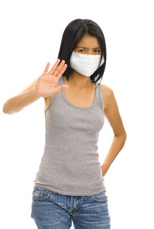 epidemic: asian woman with a protective face mask Stock Photo