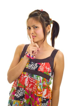 young asian woman with finger on her lips, isolated on white Stock Photo - 4818360