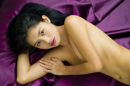 thai silk: Attractive young asian woman posing nude