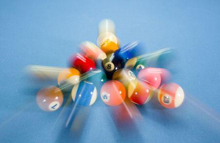 bola ocho: Pausa de un juego de billar bola ocho en rack