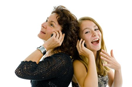 mother and daughter on the phone, isolated on white photo