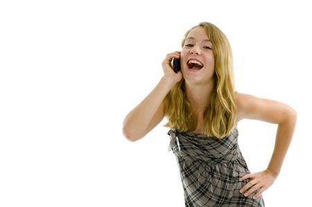 teeny: teeny girl on the phone isolated on white Stock Photo