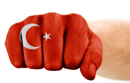 fist with turkish flag isolated on white Stock Photo - 5369977