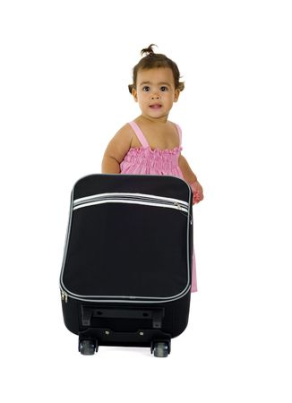 lugage: cute little girl with luggage, isolated on white