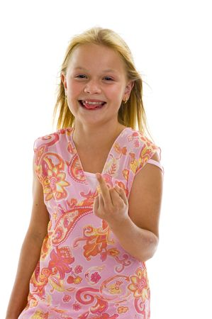 naughty woman: little girl showing middle finger, isolated on white